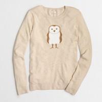 Intarsia sequin owl sweater
