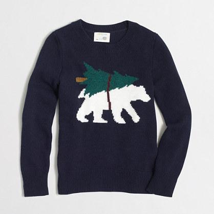 Boys' intarsia bear with tree sweater