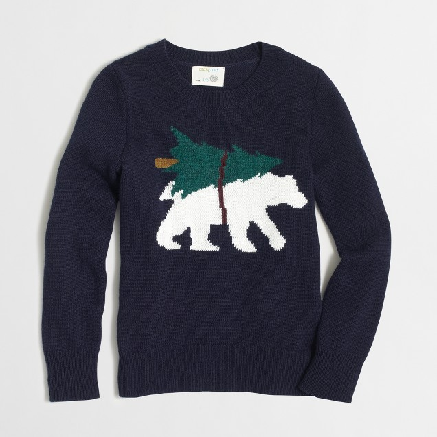 Boys' intarsia bear with tree sweater