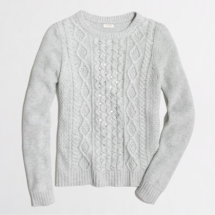 Beaded cable-knit sweater