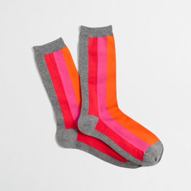 Striped-front trouser socks
