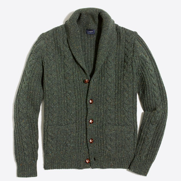 Donegal cable-knit cardigan sweater