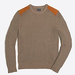 Shoulder-patch cotton crewneck sweater