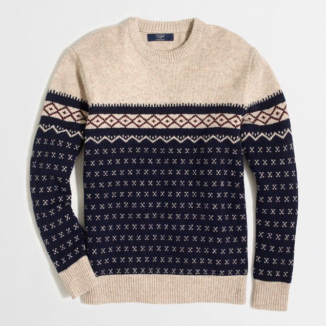 Lambswool colorblock Fair Isle sweater