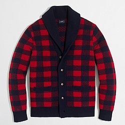 Buffalo check cardigan sweater