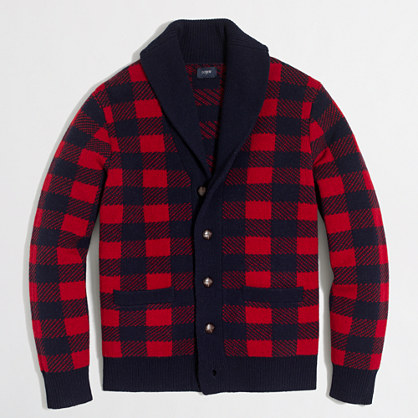Buffalo check cardigan sweater