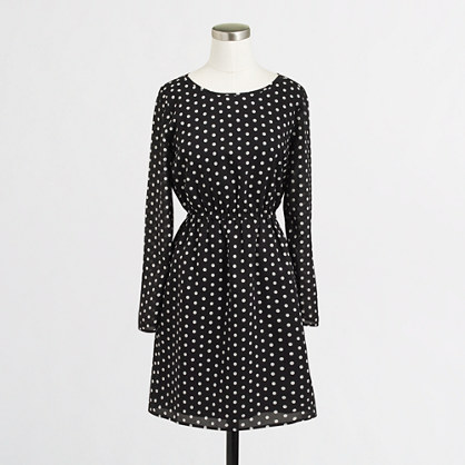 Petite long-sleeve printed dress