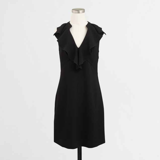 Crepe ruffle-neck dress
