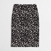 Leopard jacquard pencil skirt
