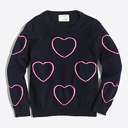 Factory girls' framed hearts popover sweater