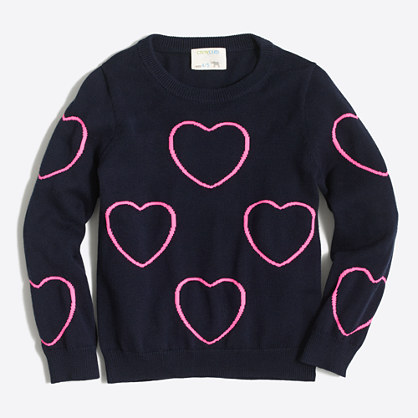 Girls' framed hearts popover sweater