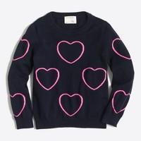 Girls' framed hearts popover sweater