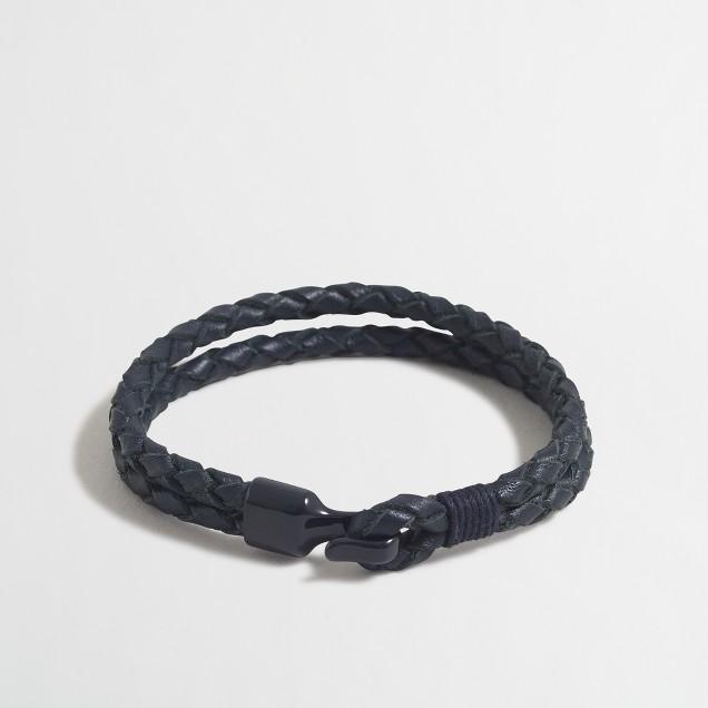 Tonal braided leather bracelet