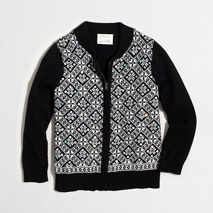 Girls' sequin Fair Isle sweater-jacket