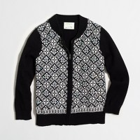 Girls' sequin Fair Isle sweater-jacket