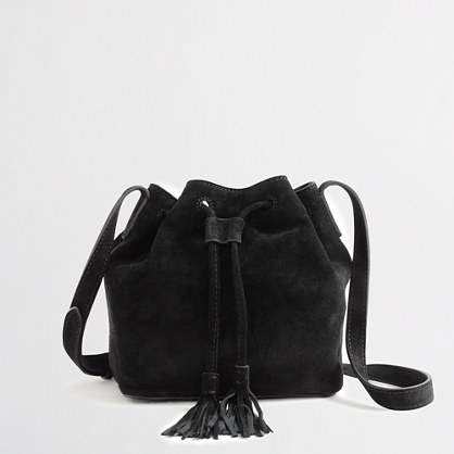 Suede mini bucket bag with tassels