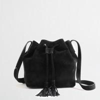 Suede mini bucket bag with tassels