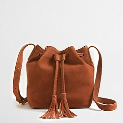 Factory suede mini bucket bag with tassels