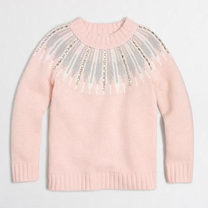 Girls' embellished Fair Isle popover sweater