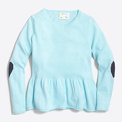 Girls' peplum popover sweater with heart elbow patches