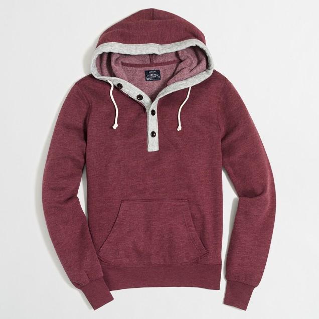 Tall fleece henley hoodie