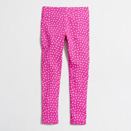 Girls' tossed hearts leggings