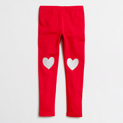 Girls' glitter heart leggings with knee patch