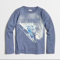 Boys' long-sleeve glow-in-the-dark ski bandit storybook T-shirt