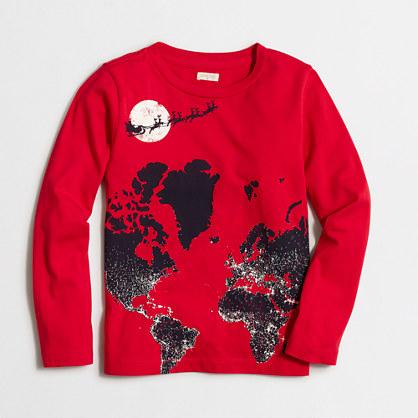 Boys' long-sleeve glow-in-the-dark Santa map storybook T-shirt