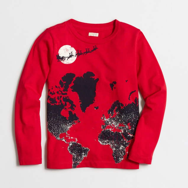 Boys' long-sleeve glow-in-the-dark Santa map storybook T-shirt
