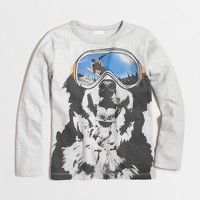 Boys' long-sleeve snowboard dog storybook T-shirt