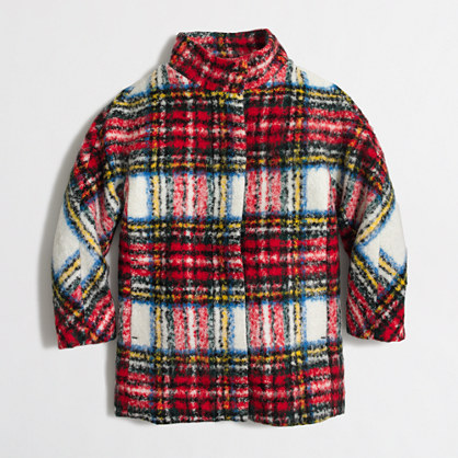 Girls' mixed plaid coat