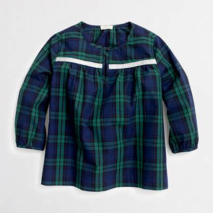 Girls' embellished plaid popover shirt