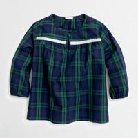 Girls' embellished plaid popover shirt