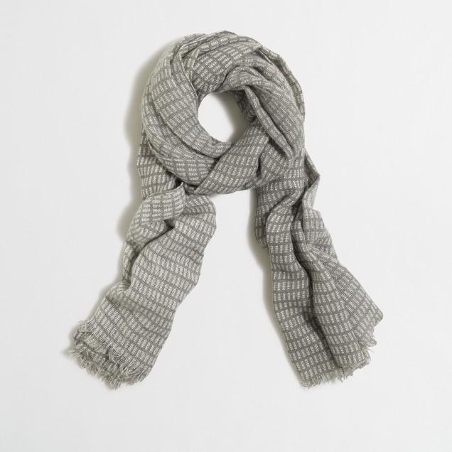 Wool woodblock print scarf