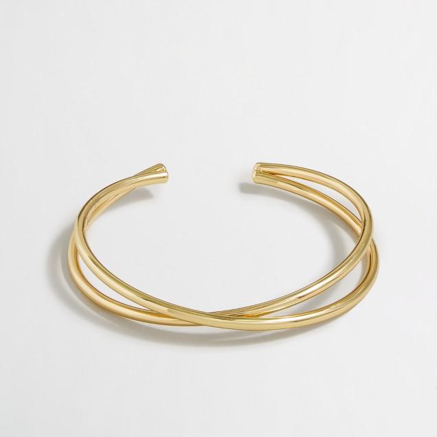 Golden crisscross cuff bracelet