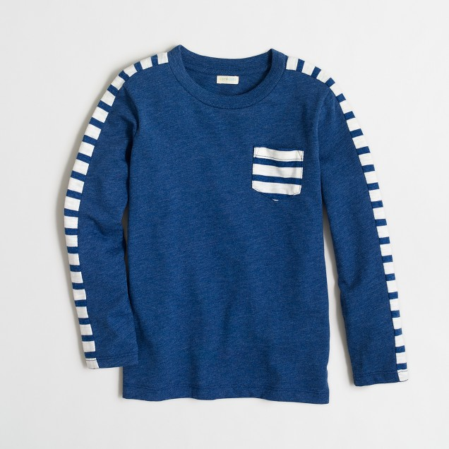 Boys' long-sleeve striped T-shirt with contrast striped pocket