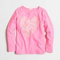 Girls' long-sleeve sequin heart keepsake T-shirt