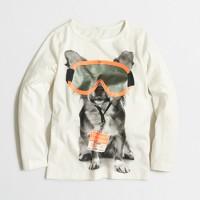 Girls' long-sleeve dog ski pass keepsake T-shirt