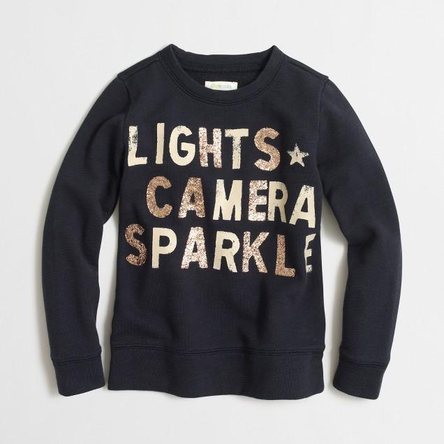 Girls' lights camera sparkle sweatshirt