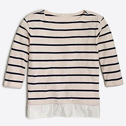 Girls' three-quarter sleeve striped ruffle-hem T-shirt