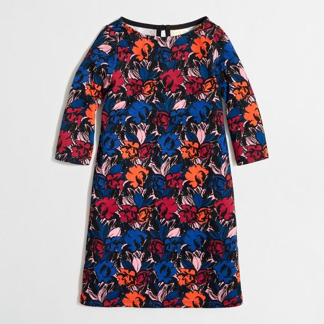 Girls' printed boatneck dress