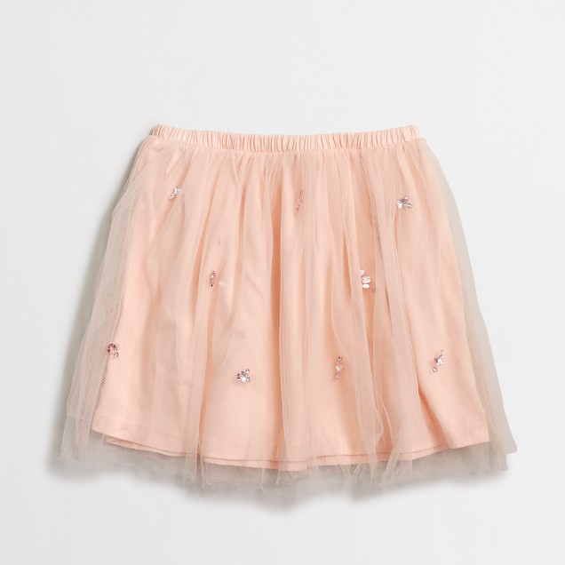 Girls' embellished tulle skirt