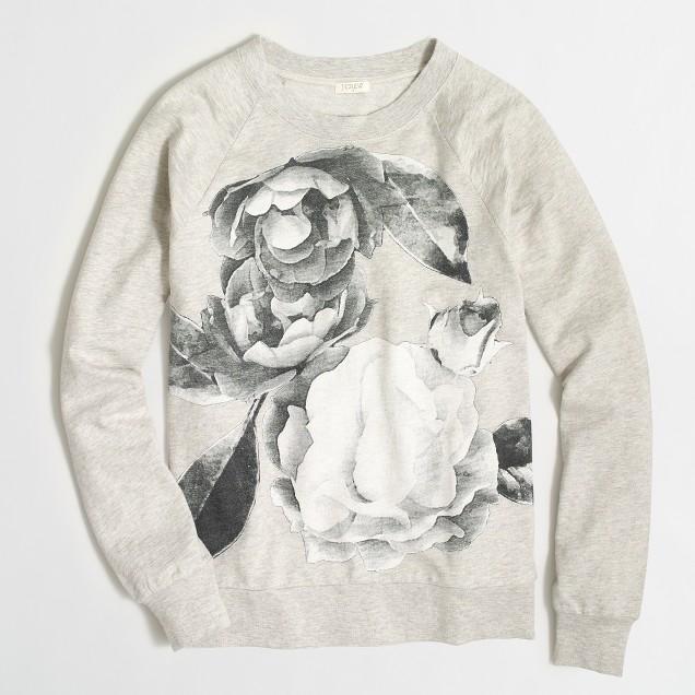 Photographic floral sweatshirt