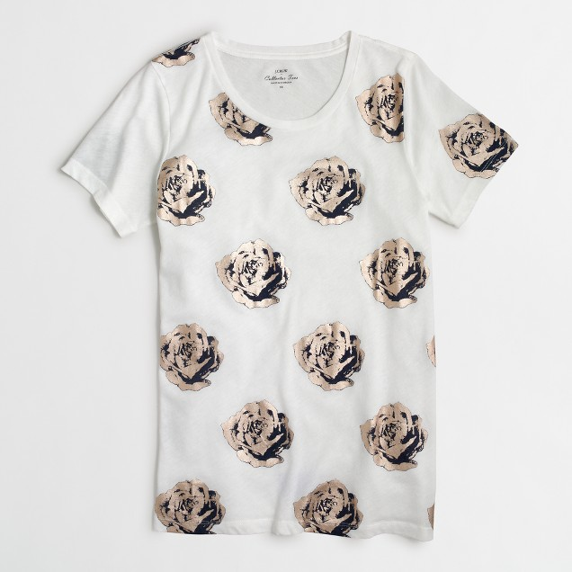 Metallic roses collector T-shirt in airy cotton