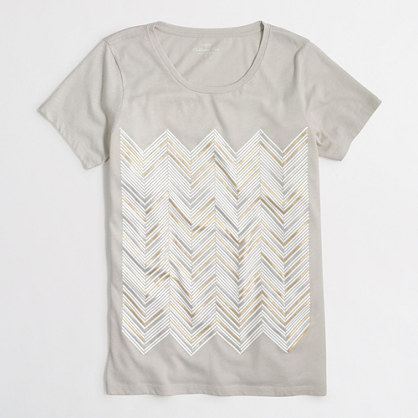 Metallic chevron collector T-shirt in airy cotton