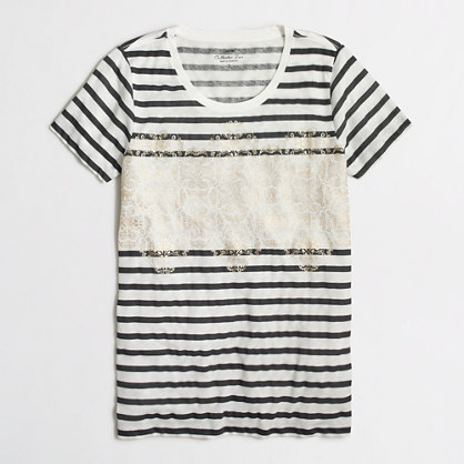 Striped jet collector T-shirt in airy cotton