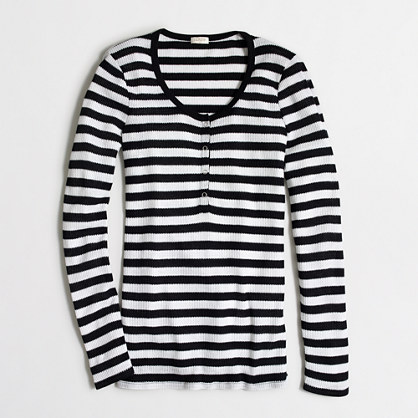 Factory striped waffle henley