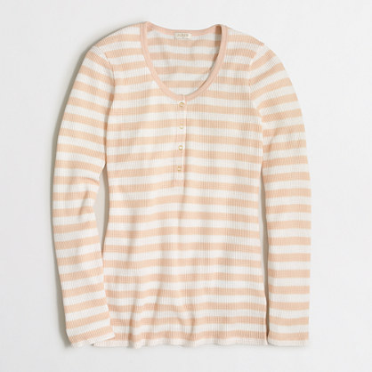 Striped waffle henley