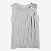 Embellished-shoulder top